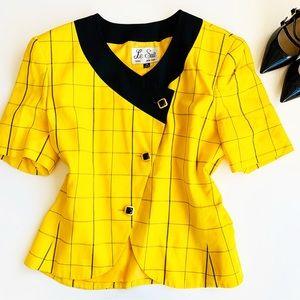 LE SUIT Yellow Black Plaid Blazer